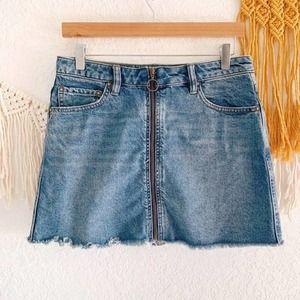 Free People Denim Raw Hem Zip Front Skirt